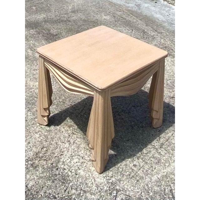 Almond Vintage Regency Swag Draped Side Table For Sale - Image 8 of 9