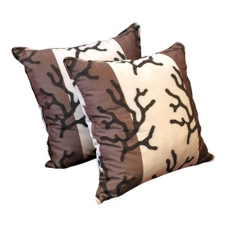 Brown Branches Pillows - a Pair For Sale