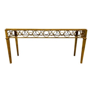 Hollywood Regency Iron Gold Gilt Marble Top Console For Sale