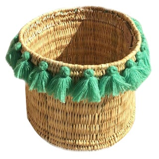 Moroccan Mint Green Tassel Large Basket For Sale