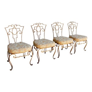 1950s French Style Iron Side Chairs - Set of 4 For Sale