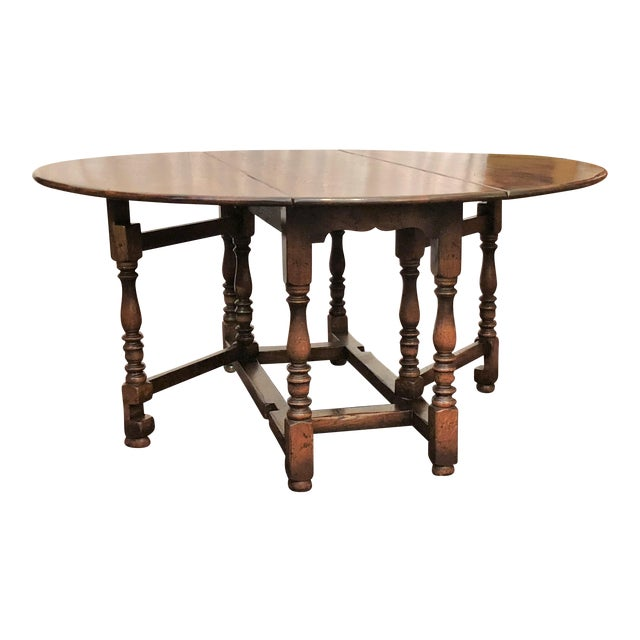 English Drop Leaf Yew-Wood Round Table For Sale