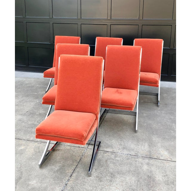 """High back chrome """"Z"""" cantilever Milo Baughman dining chairs. Reworked and reupholstered three years ago in a stunning..."""