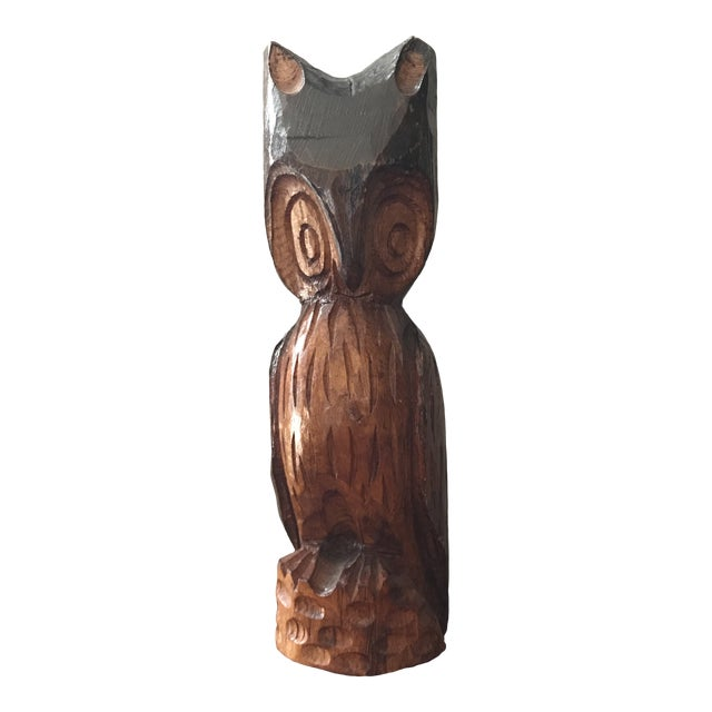 Vintage Hand Carved Handcrafted Wood Owl Figurine For Sale