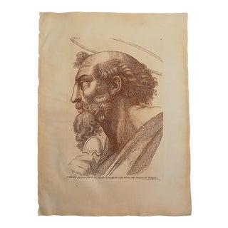 Large Antique 18th Century Sepia Etching of Saint Paul - Raphael - Elephant Folio For Sale