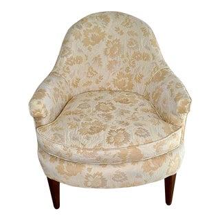 Hollywood Regency Tufted Floral Chintz Boudoir Slipper Chair For Sale