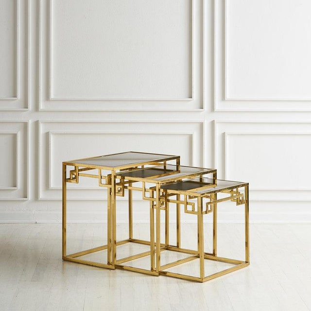 Brass Brass and Rose Gold Italian Mirrored Glass Nesting Tables For Sale - Image 8 of 8