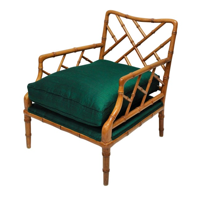 A Pair of Faux Bamboo Cockpen Armchairs For Sale - Image 4 of 6