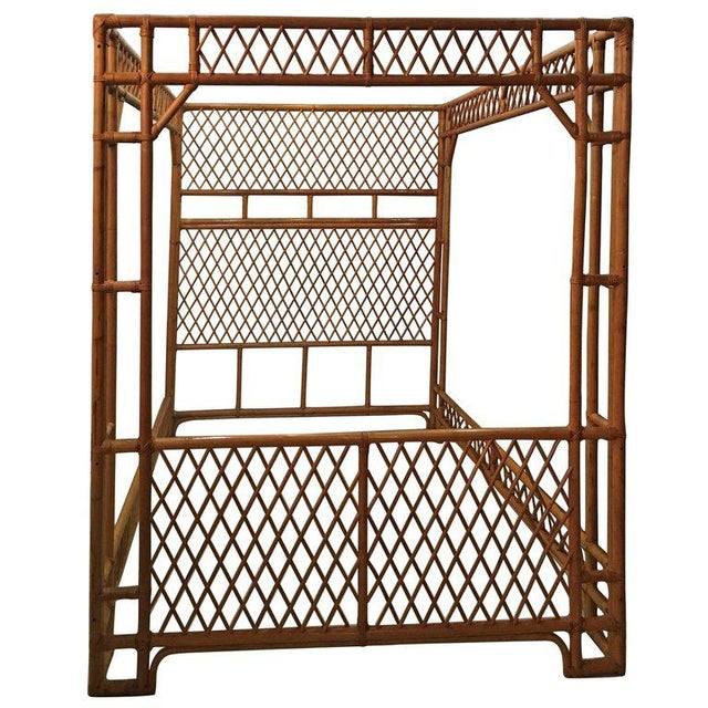 Rattan Bamboo Chinese Chippendale Queen Canopy Bed For Sale - Image 11 of 12