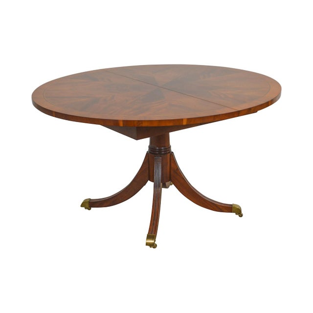 Hekman Flame Mahogany Yew Wood Banded Single Pedestal Dining Table For Sale - Image 13 of 13