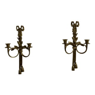 Brass Bow and Tassel Candle Sconces - a Pair For Sale