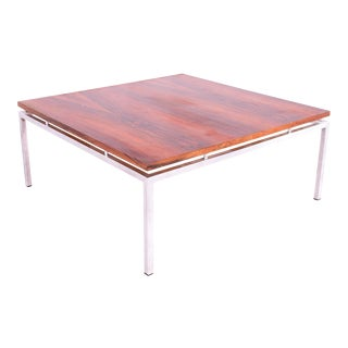Mid Century Modern Chrome and Rosewood Square Coffee Table For Sale
