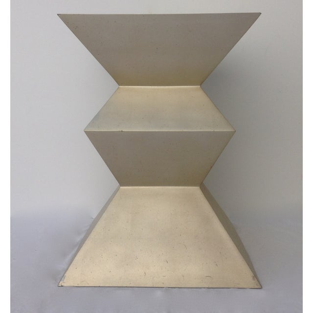 "Iconic; 1970's-80's, ""Cubist Dining Table Base"" in a Silver-leaf finish. This piece was part of a coveted furniture..."
