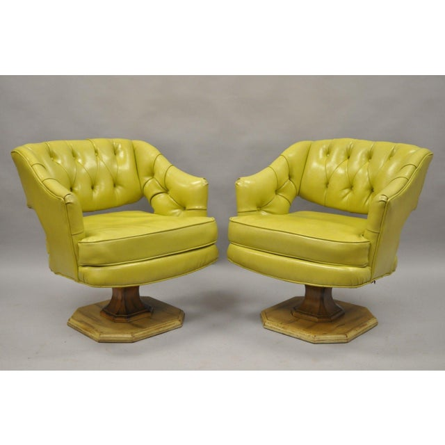 Pair Silver Craft Green Yellow Swivel Club Lounge Chairs Mid Century Modern A For Sale - Image 11 of 12