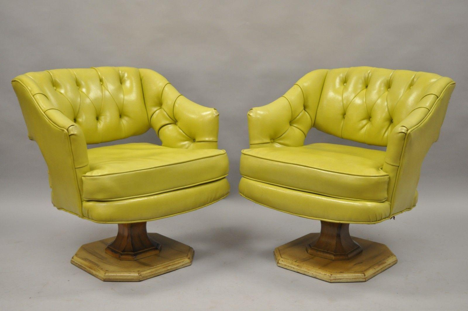 Charmant Pair Silver Craft Green Yellow Swivel Club Lounge Chairs Mid Century Modern  A For Sale