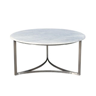 White Marble & Nickel Coffee Table For Sale