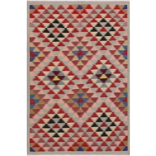 Kilim Carmina Gray/Pink Hand-Woven Wool Rug -4'8 X 6'5 For Sale
