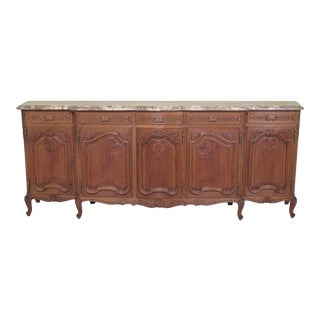 1940s French Louis XIV Monumental Marble Top Oak Sideboard For Sale