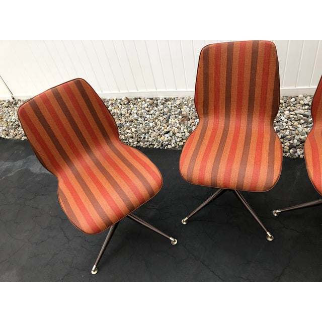 Mid-Century Modern Vintage Mid Century Howell Acme Striped Vinyl Chairs- Set of 4 For Sale - Image 3 of 13
