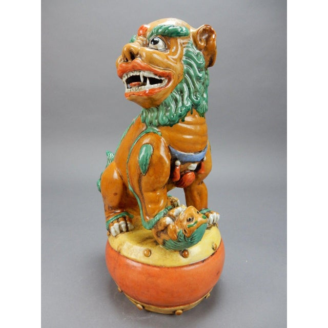 Late 19th Century Antique Chinese Nan King Orange Drip Glazed Female Foo Dog For Sale - Image 4 of 13