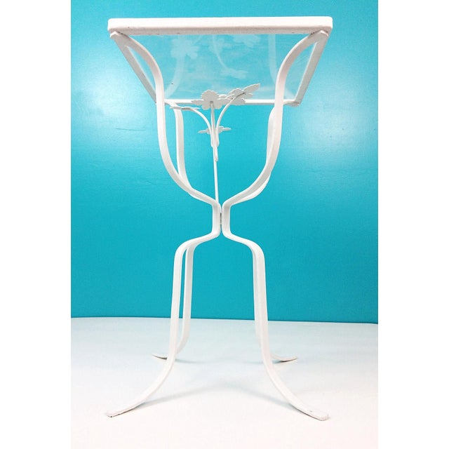 Vintage Wrought Iron Ivy Leaves Patio Plant Stand Table - Image 8 of 8