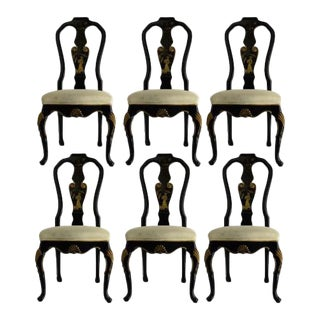 Karges Furniture Company Chinoiserie Lacquer Dining Table Chairs - Set of 6 For Sale