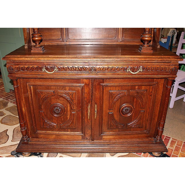 French Rococo Hand-Carved Hutch - Image 9 of 9