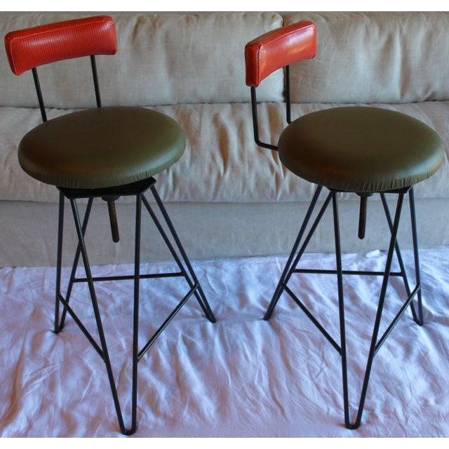Contemporary Mid Century Modern Italian Wrought Iron Adjustable Height Bar Stools Arthur Umanoff Style- a Pair For Sale - Image 3 of 11