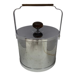 1970s Chrome and Wood Ice Bucket For Sale