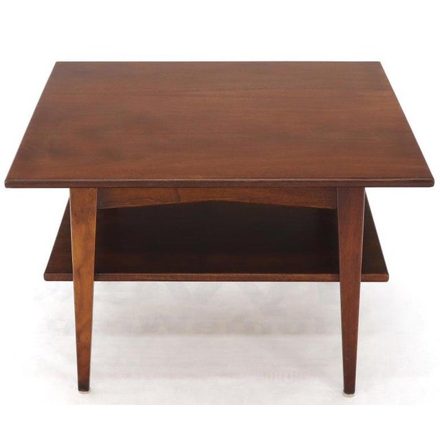 Jens Risom Square Occasional Coffee Side Table Oiled Walnut For Sale - Image 10 of 12