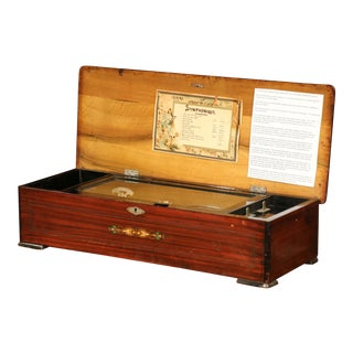 Large 19th Century Swiss Inlaid Walnut Cylinder Zither Music Box With 12 Songs For Sale