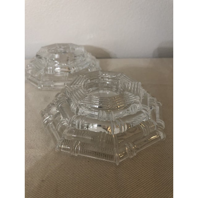 Transparent Vintage Glass Bamboo Pattern Tea Light Holders - a Pair For Sale - Image 8 of 8
