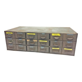 Vintage Industrial Gray Metal 18 Drawer Parts Cabinet by Lyon