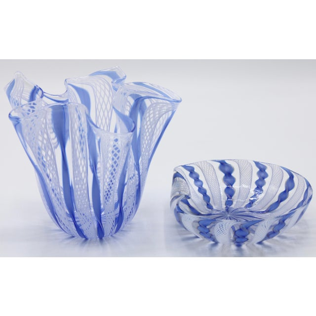 A superb Italian Murano Glass Handkerchief Vase and Dish Set. This would be the perfect desk set! Excellent Condition...