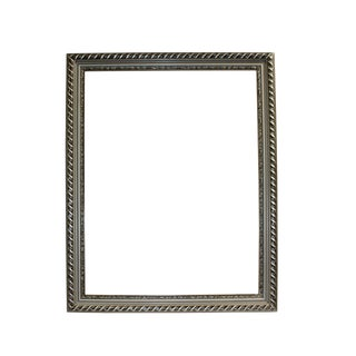 Wood Silver Scroll Motif Rim Rectangular Picture Painting Frame For Sale