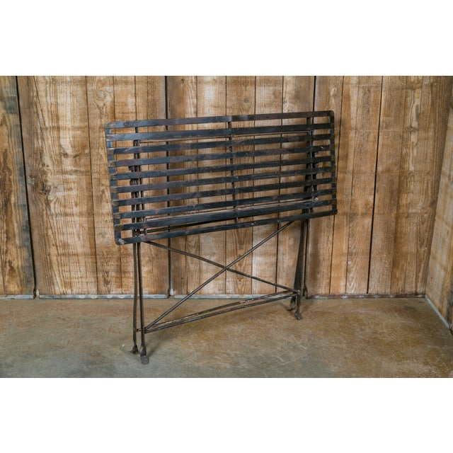 Industrial French Iron Folding Table with Metal Slat Top, circa 1920 For Sale - Image 3 of 5