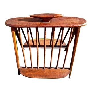 Mid Century Modern Arthur Umanoff Walnut Magazine/Record Rack For Sale