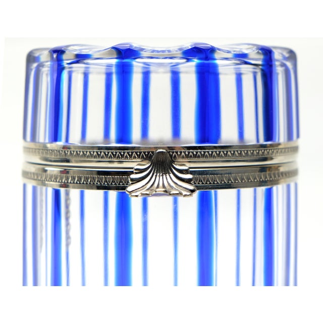 Metal Cobalt Blue and Cut Crystal Lidded Box by Cristal Benito, France For Sale - Image 7 of 9