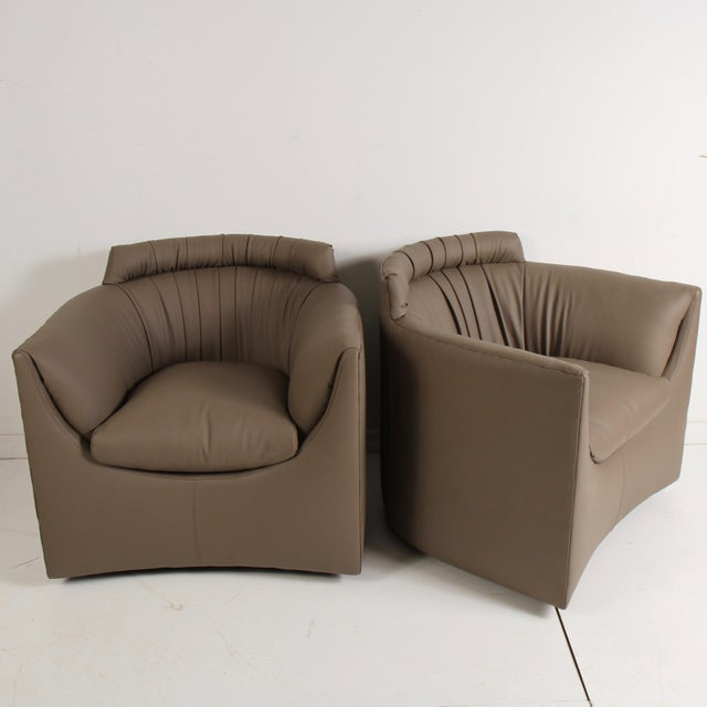 John Saladino for Baker Leather Lounge Chairs For Sale - Image 12 of 12