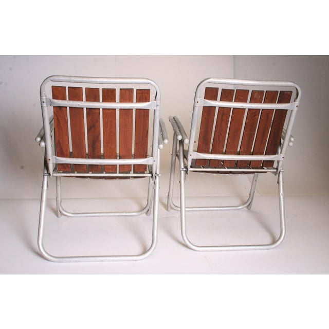 Vintage Redwood & Aluminum Folding Rocking Chairs - Set of 4 - Image 5 of 11