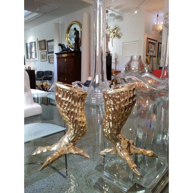 1960s Brass Eagle Talon Candlesticks 1960s Italy - a Pair For Sale - Image 5 of 11
