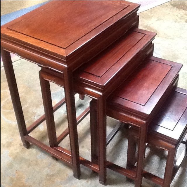 Asian 4-Piece Chinese Rosewood Nesting Tables For Sale - Image 3 of 6