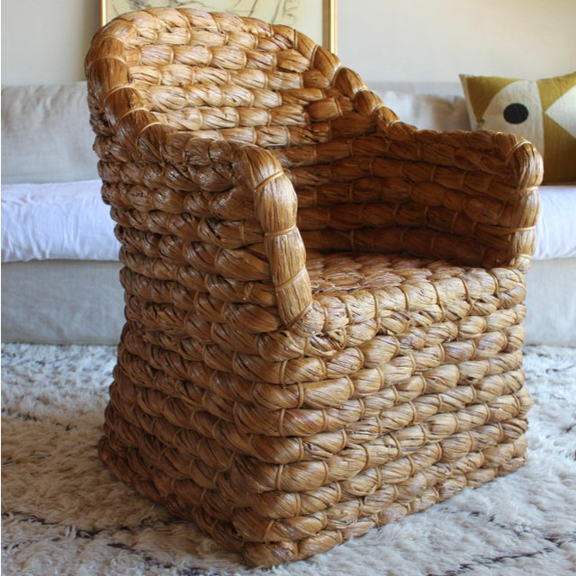 2010s Organic Modern Ralph Lauren Joshua Tree Woven Natural Lampakanay Fiber Barrel Lounge Chair For Sale - Image 5 of 9