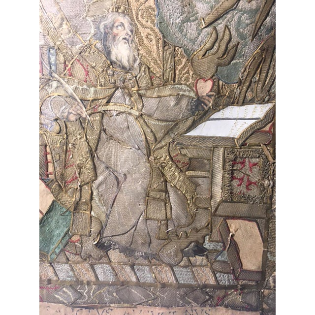 """Silk Early 19th Century """"Moses Reading Scriptures"""" Silk Textile Art, Framed For Sale - Image 7 of 9"""
