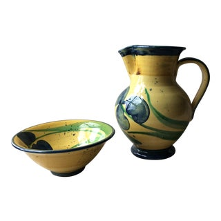MidCentury French Provençal Style Pitcher and Bowl - a Pair For Sale