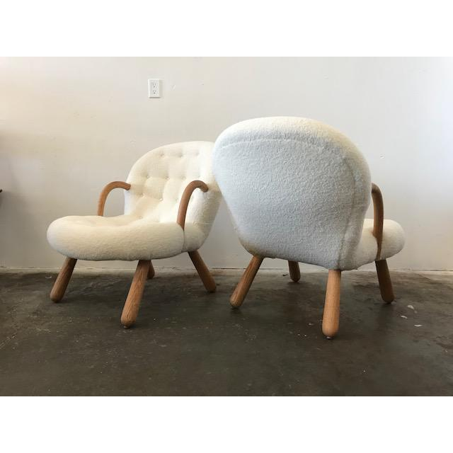 """Philip Arctander Style """"Clam"""" Armchairs Boucle Fabric For Sale In Los Angeles - Image 6 of 8"""
