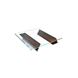 Modern Sculptural Walnut and Starphire Coffee Table For Sale