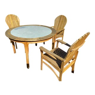 Kingsley Bate Hampton Collection Round Teak Dining Set- 4 Pieces For Sale
