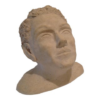 Bust of Young Man in Stone For Sale
