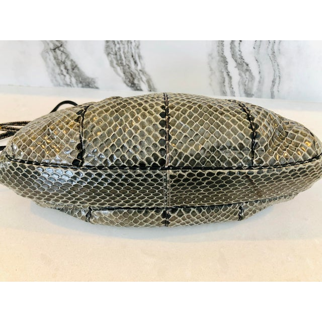 Animal Skin Vintage Judith Leiber Grey Python Clutch With Frog Charm Detail For Sale - Image 7 of 11